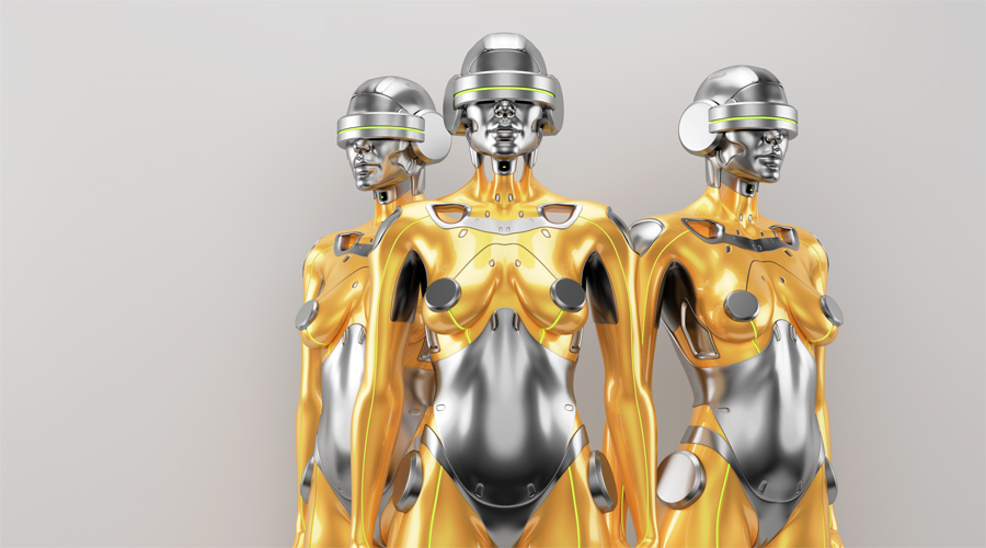 Gold and silver robot woman