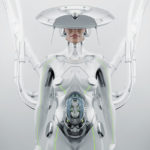 Pregnant robotic woman with unusual futuristic hat connected