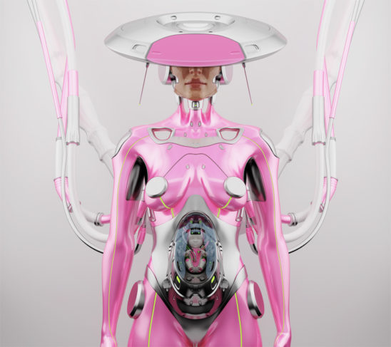 Pink pregnant robotic woman with unusual futuristic hat connected