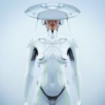 White futuristic robot woman with hi-tech hat