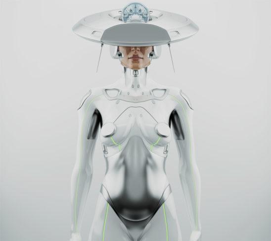"White futuristic robot woman with hi-tech ""brain"" hat"