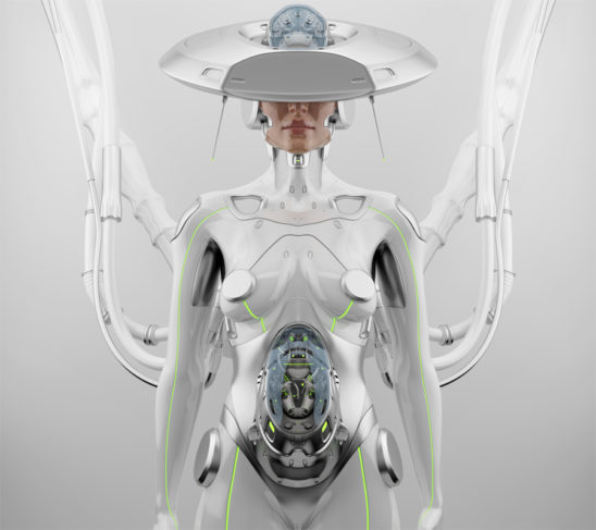 "White futuristic robot woman with hi-tech ""brain"" hat connected"