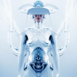 """White futuristic robot woman with hi-tech """"brain"""" hat connected"""