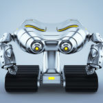 Silver look-see robot on tracks and yellow illumination