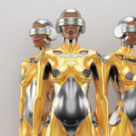 Gold and silver robot woman trio