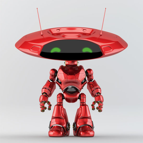 Red robotic ufo creature featuring flat round head