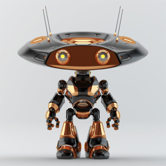 Black, with golden elements, ufo robot with flat head and two big eyes and four antennaes