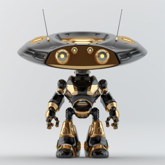 Ufo robot with flat head and two big and two little eyes