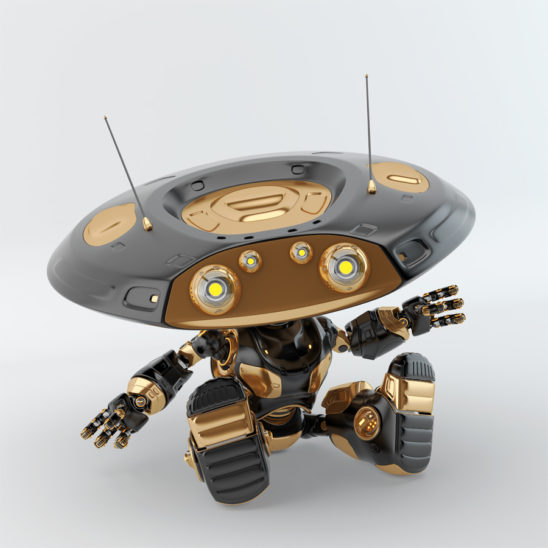 Sitting and greeting luxury black ufo robot with flat round head and antennaes