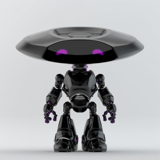 Matte black robotic ufo with extravagant violet digital eyes