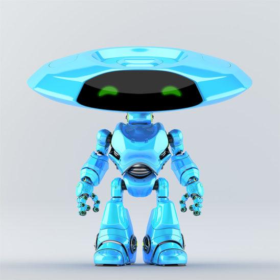 Bright blue robotic ufo with friendly green digital eyes