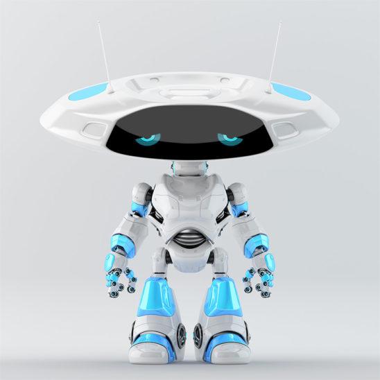 White-blue robotic ufo with sad digital eyes