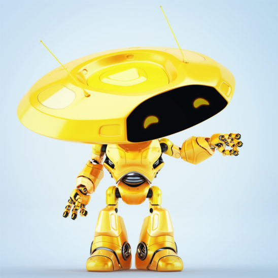Pointing orange ufo robot with flat round head and antenna's