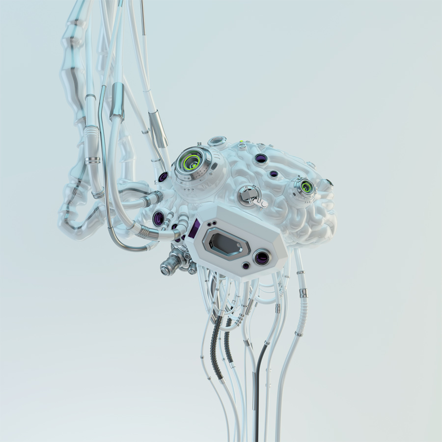 Wired white robotic eternal organ - brain in side render