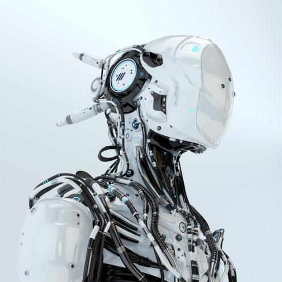 Futuristic robotic wired pilot in white. 3d render
