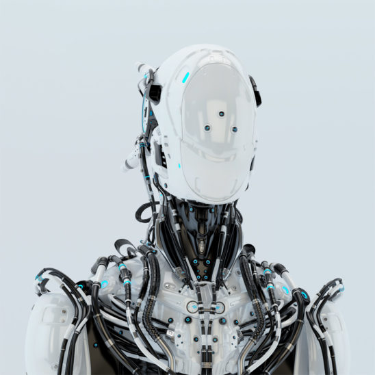 Futuristic robotic wired pilot in white. Front angle, 3d render