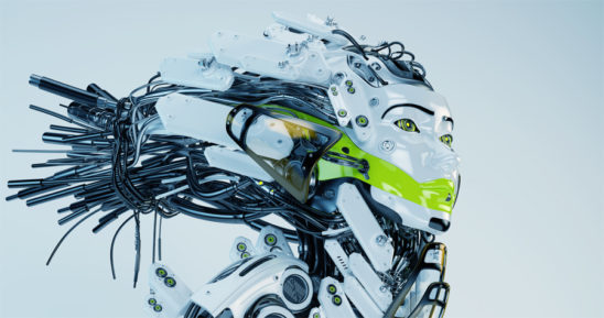Modern robot geisha in side render with bright green bar