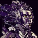 Steel robotic geisha on black background