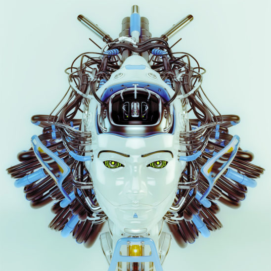 Futuristic geisha robot with blue and grey wires as hairstyle in front render