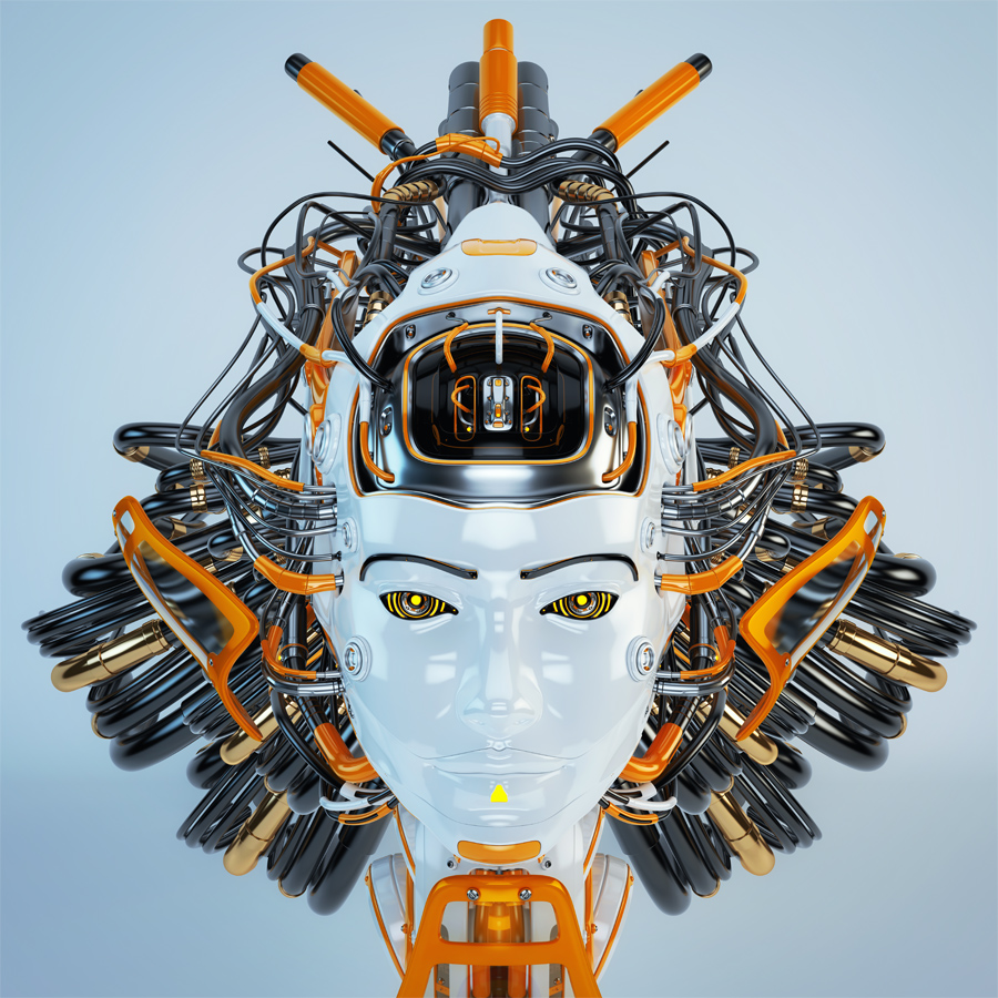 Futuristic geisha robot with orange and grey wires as hairstyle in front render