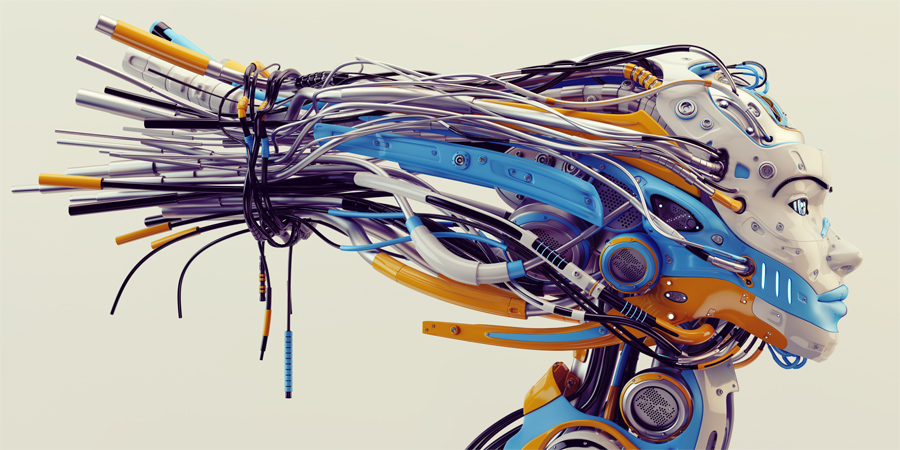 Fashionable robot geisha with bright blue and orange parts, wires in profile