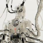 SHI. Wired robotic girl backwards