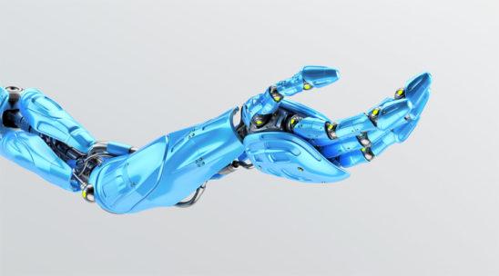 Blue prosthetic robo arm