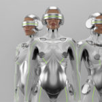 Silver robot woman trio with real face