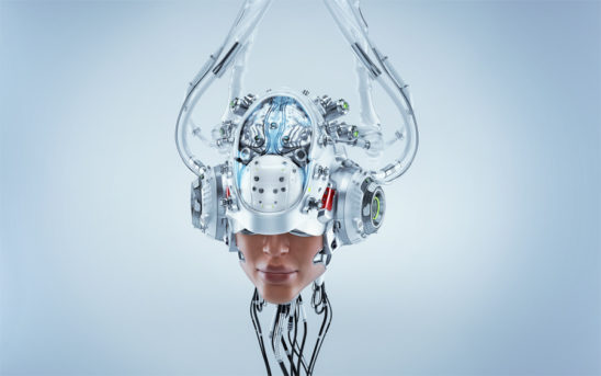 Humanoid robotic head with skin connected with wires and tubes