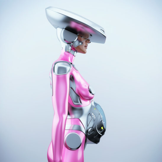 Side render of robotic woman with big silver hat waiting for baby