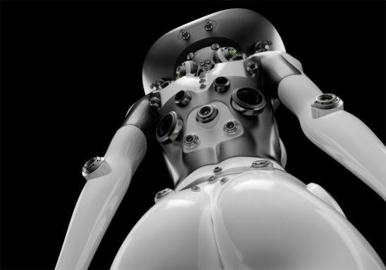 Sexy robotic girl backwards from bottom angle