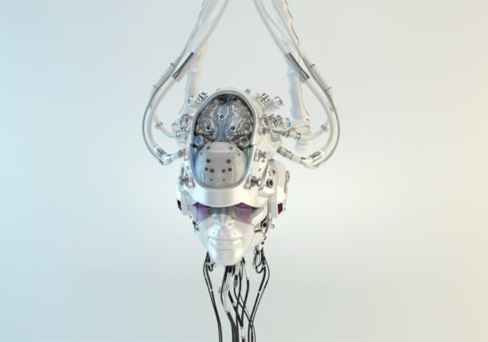 Humanoid robotic head with visible brain connected with wires and tubes