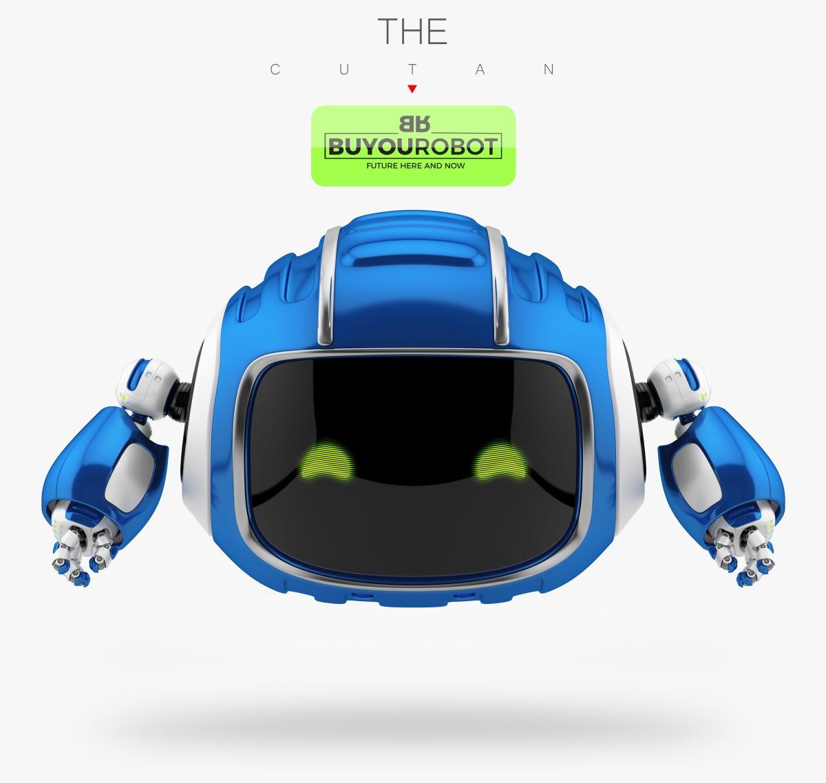 cute aerial robotic toy cutan in blue 3d model vray