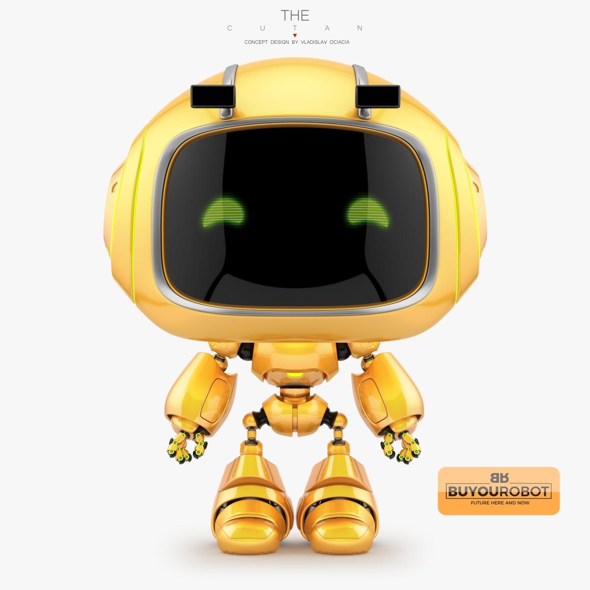Cute little robotic character 3d model
