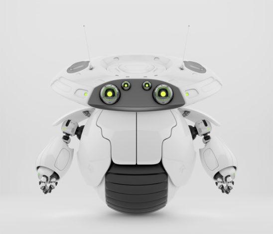 Roller bot character on one big wheel. 3d render