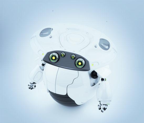 Cute roller robot in upper view. 3d render