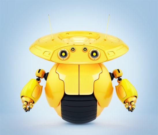 Bright orange roller robot on one big wheel. 3d render