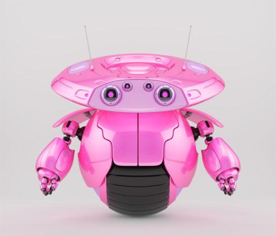 Bright pink roller robot on one big wheel. 3d render