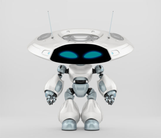Ufo robotic creature with flat big head and mysterious antenna