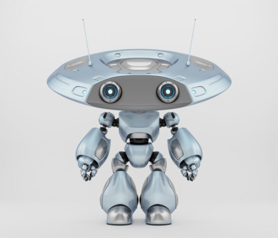 Adorable robotic ufo character in grey-blue colors