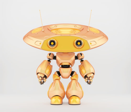 Unique robot ufo in beautiful chameleon yellow color