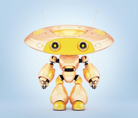 Unique robot ufo in beautiful chameleon yellow color. 3d render
