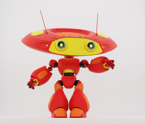 Cartoonish robotic ufo toy in red with yellow elements and funny antenna pointing, showing something