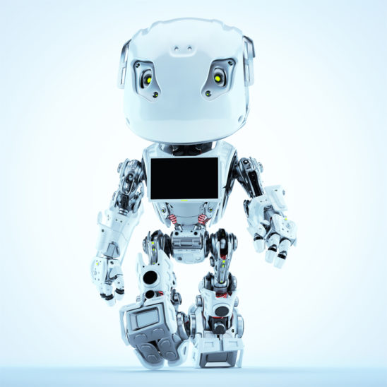 Bbot walking robot with monitor screen on chest, 3d render