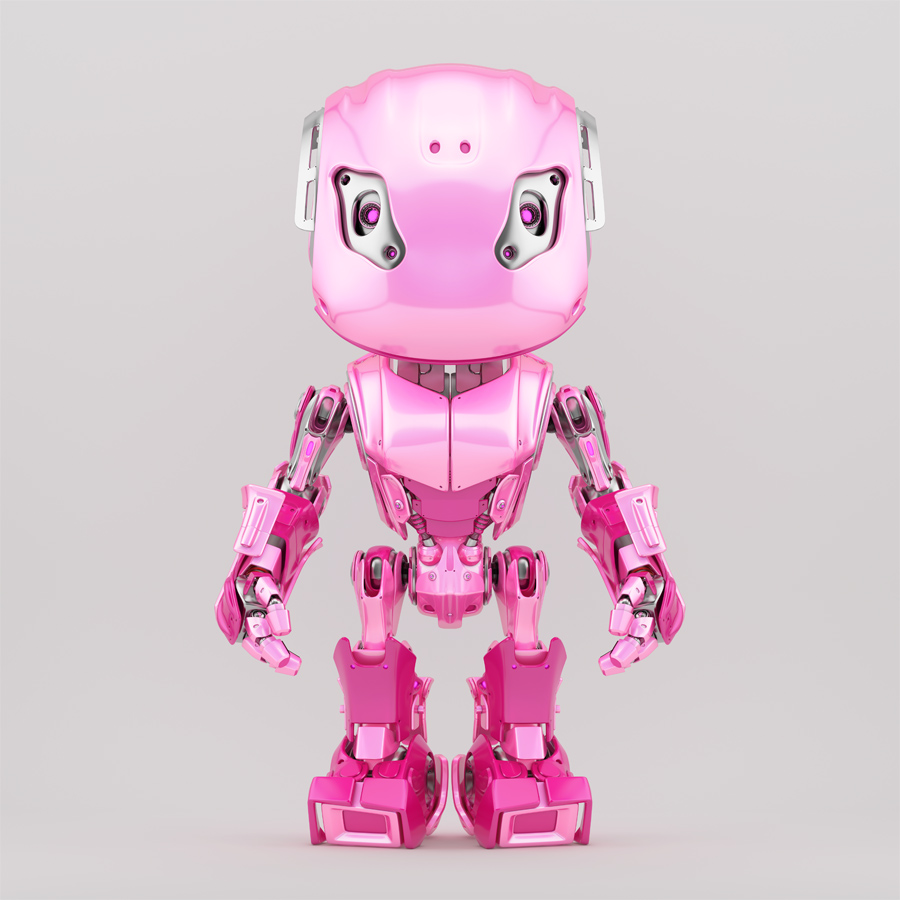 Bbot robot character in girlish pink color, front view 3d render