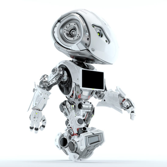 Bbot walking robot with monitor screen on chest, side 3d render