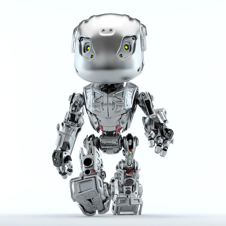 Steel robot bbot walking