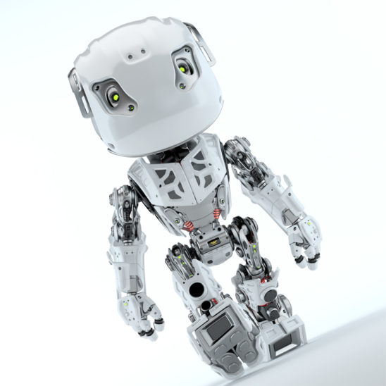 Walking bbot cute robot in front angled render