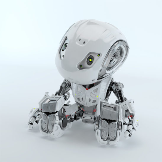 Lovely sitting and resting robot bbot in white, 3d render
