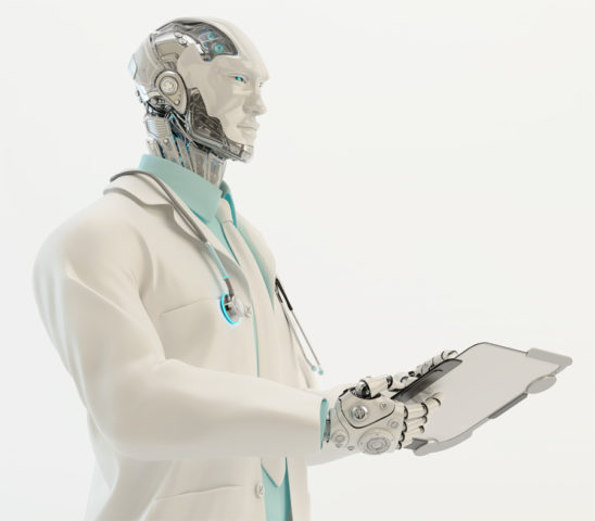 Robot doctor with stethoscope wears medical gown and tie holding tablet in profile
